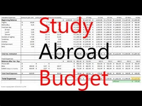 Travel Study Abroad Budget Excel Tutorial Youtube Study Abroad Budget Template