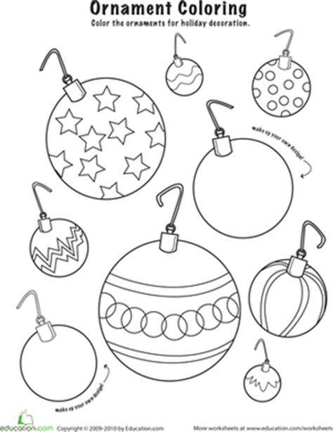 christmas ornaments to color worksheet education com