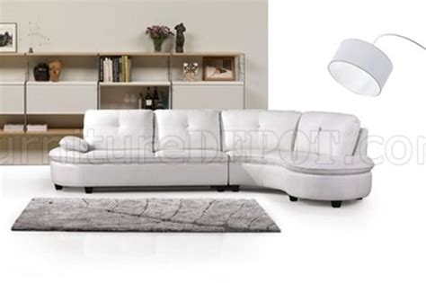 cosmo leather sofa cosmo 443002 sectional sofa in white bonded leather by new
