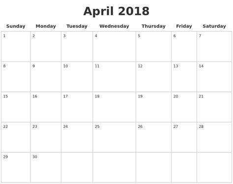 printable calendar pages 2018 april 2018 blank calendar pages