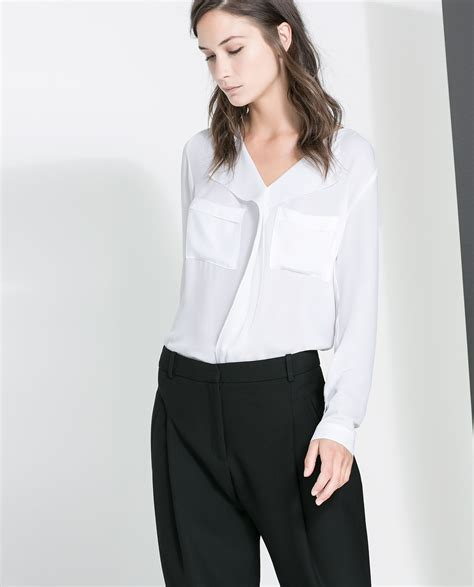 Zara White Blouse Diskon zara open neck blouse in white white lyst