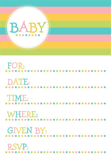 baby shower invitations templates free printable