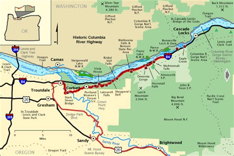columbia river usa map historic columbia river highway west section america s