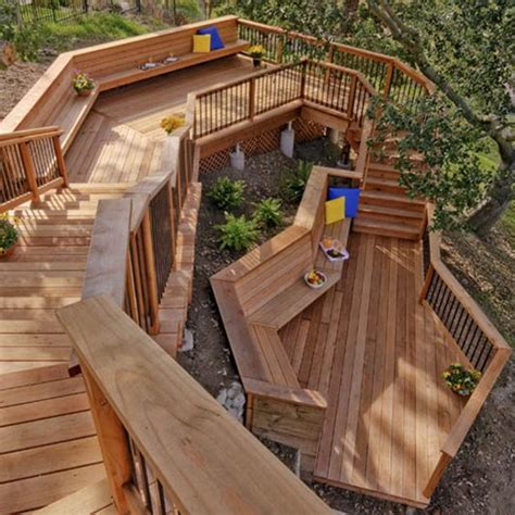 Backyard Wood Deck Ideas This Unique Stairway And Deck Combination Provides Levels Of Entertainment There Are Countless
