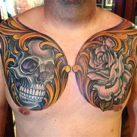rose chest piece tattoo skull and chest remington