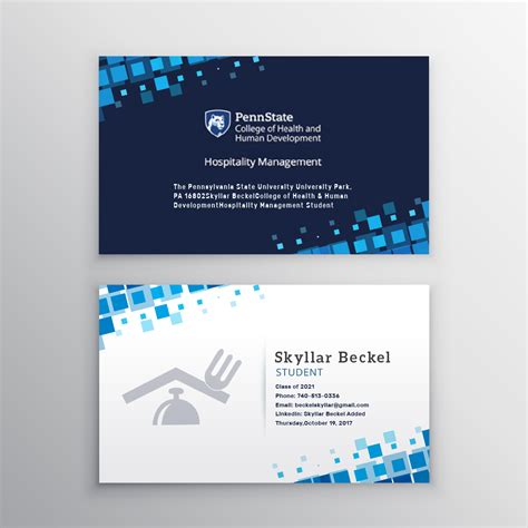 penn state student card template graphic design student business cards images card design