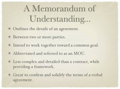 Letter Of Agreement Definition memorandum of understanding definition