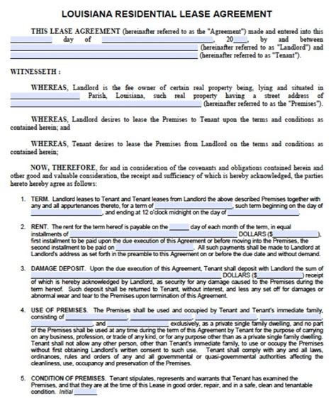 Free Louisiana 1 Year Residential Lease Agreement One Year Lease Template