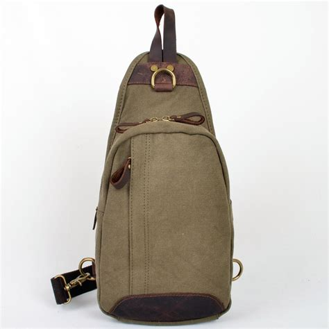 Canvas Chest Bag Army Green Intl vogue chest canvas bag vintage canvas sling bags unusualbag
