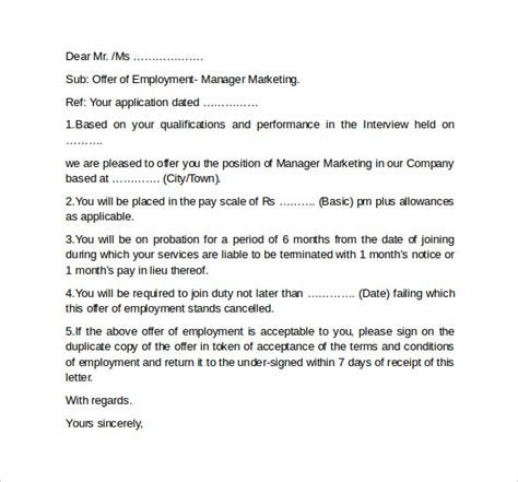 Offer Letters For Employment Offer Letter Template 11 Free Documents In Pdf Word Sle Templates