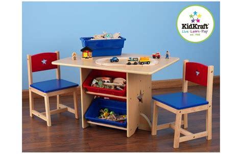 table et 2 chaises pour enfants en bois avec rangements