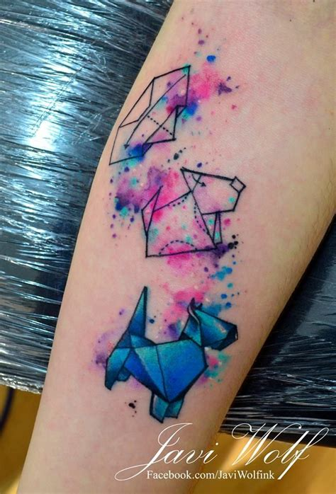 watercolor tattoo origami origami tattooed by javi wolf ideas