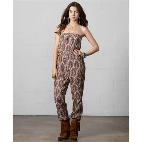 Jsjt217120770144 Jumpsuit Zara Jumpsuit Floral Beige denim supply ralph strapless paisleyprint blouson jumpsuit in beige royal multi
