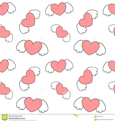 cute cartoon pattern cute cartoon heart with wings valentine romantic seamless