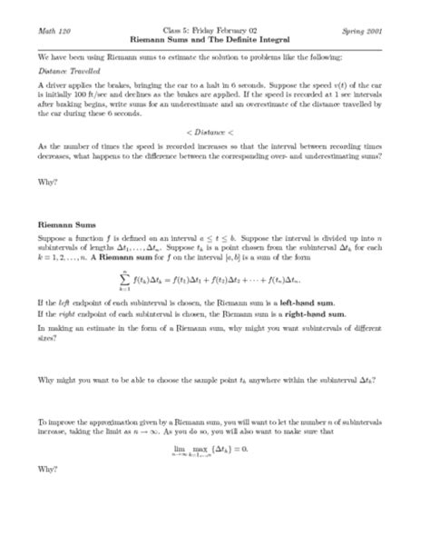 Definite Integral Worksheet by Riemann Sum Worksheet Calleveryonedaveday