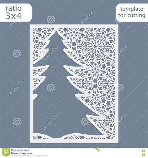 Laser Cut Christmas Invitation Card Template Cut Out The Paper Card With Lace Pattern Greeting Card Cut Out Template