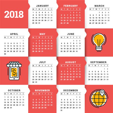 business calendar template 2018 business calendar template vectors 14