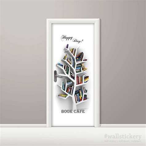 printable wall sticker paper book cafe door contact paper wall sticker