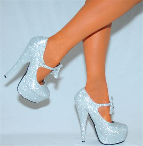 Stiletto Shoe Chairs Glitter Sparkly Mary Janes Bow Ankle Strap Court Shoes