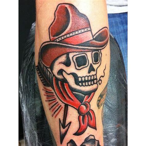 cowboy skull tattoo designs cowboy traditional school flash