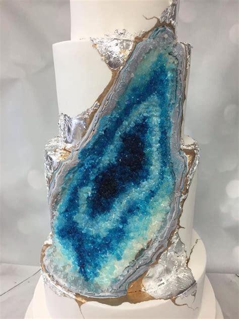Whisk Cake Company Blue Geode Wedding Cake #geode #