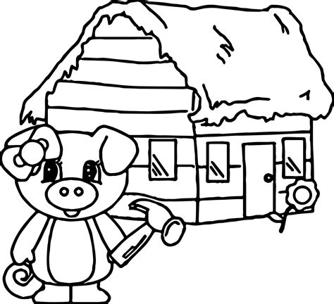 3 little pigs house of wood coloring page wecoloringpage