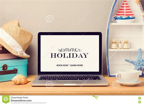 home decor objects laptop computer mock up template with beach items and home