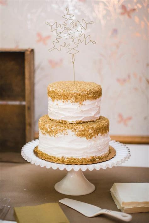Gold Box Butter Layer Cake 1 gold topped white buttercream wedding cake