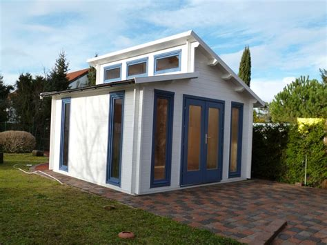 gartenhaus taubenblau pultdach gartenhaus in wei 223 und taubenblau colour