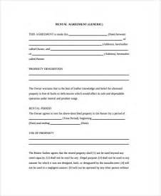 generic lease agreement template doc 722952 generic rental agreement sle printable