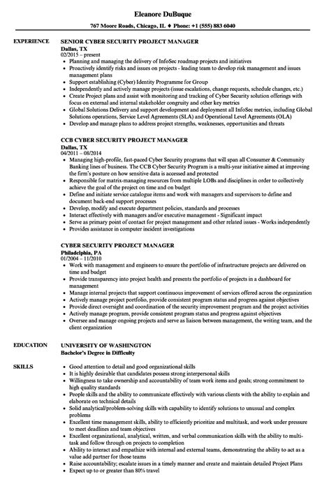 cyber security project manager resume sles velvet