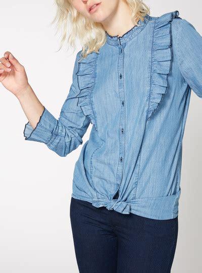Tunic Blouse Denim Colour womens blue denim fill tunic tu clothing