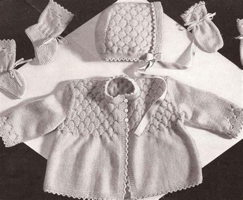 vintage knitted patterns vintage knitting pattern to make baby smocking set sweater