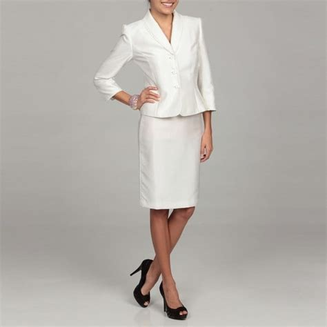 tahari s white ruffle collar skirt suit 13937342