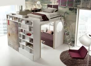 space saving beds living in a shoebox bookcase bed and dining table in
