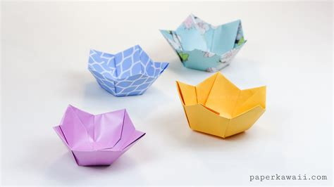 Origami Bowl - origami flower bowl tutorial paper kawaii