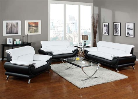 Orel Modern Contemporary Black White Bonded Leather White Leather Living Room Set