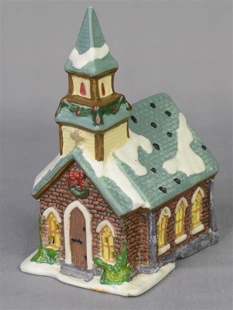 large village set  church shops trees figurines animated illuminated  piece