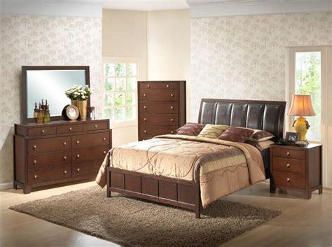 leather headboard bedroom set modern 5 piece dark brown bedroom set faux leather