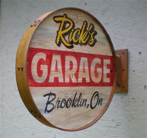 personalized vintage retro style garage signs outside
