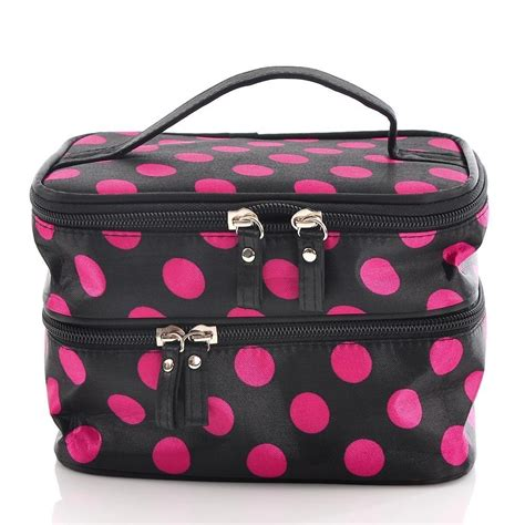 Mini Makeup Pouch Polka Black Pink pink and black polka dot cosmetic bag only 4 16 shipped