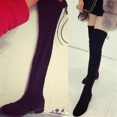 stretch fabric thigh high boots high quality