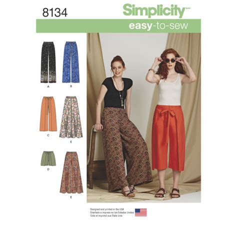 simplicity pattern ease simplicity pattern 8134 misses easy to sew pants and shorts