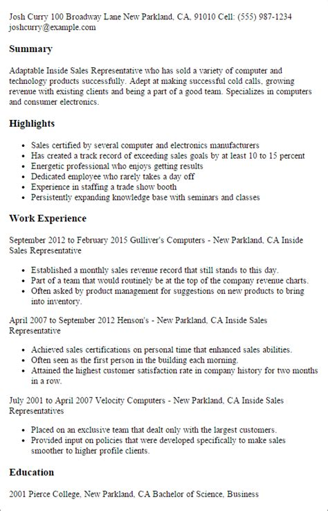 Inside Sales Manager Description by Professional Inside Sales Representative Templates To Showcase Your Talent Myperfectresume