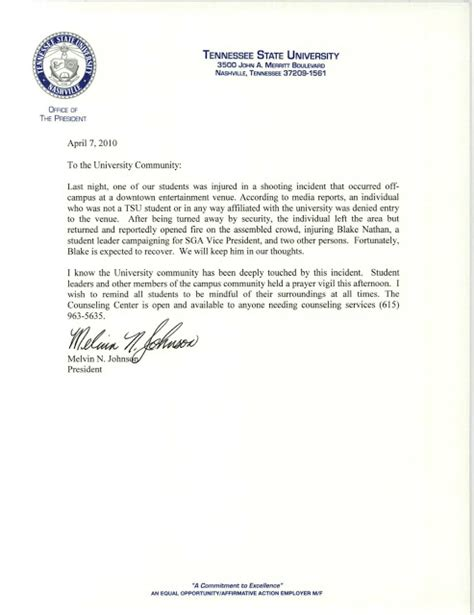 Community Service Letter For High School Students tennessee state newsroom tsu president melvin n johnson s letter about nathan