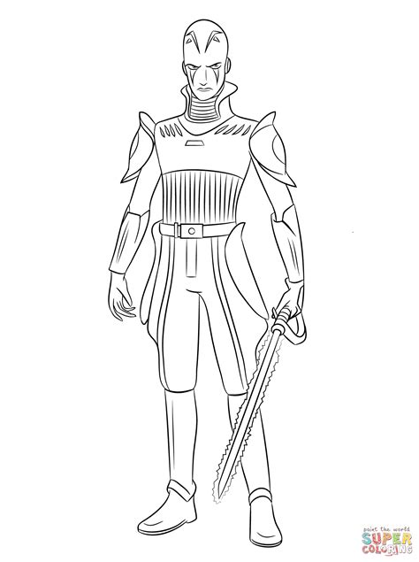 star wars ezra coloring page star wars rebels the inquisitor coloring page free