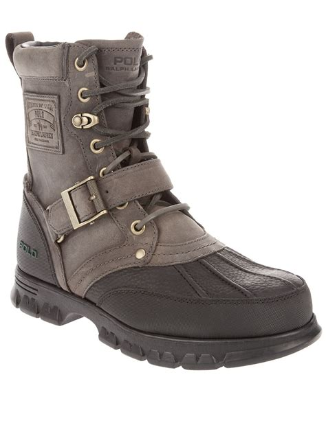 grey polo boots lyst polo ralph ankle boot in gray for