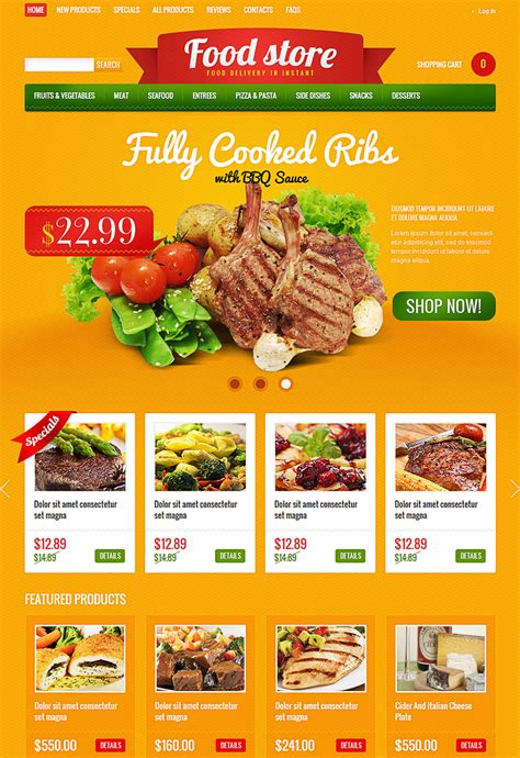 Food Templates by 15 New Ecommerce Templates Themes For Foods Beverages