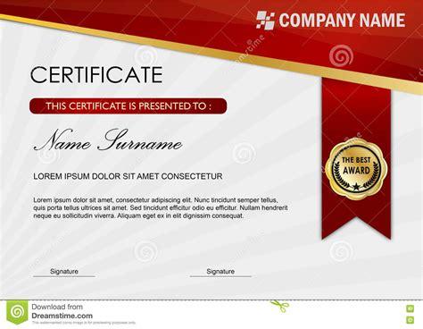 Certificate / Diploma Award Template, Red Dark Stock