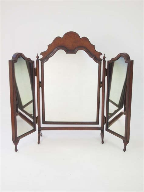 Walnut Folding Dressing Table Mirror For Sale